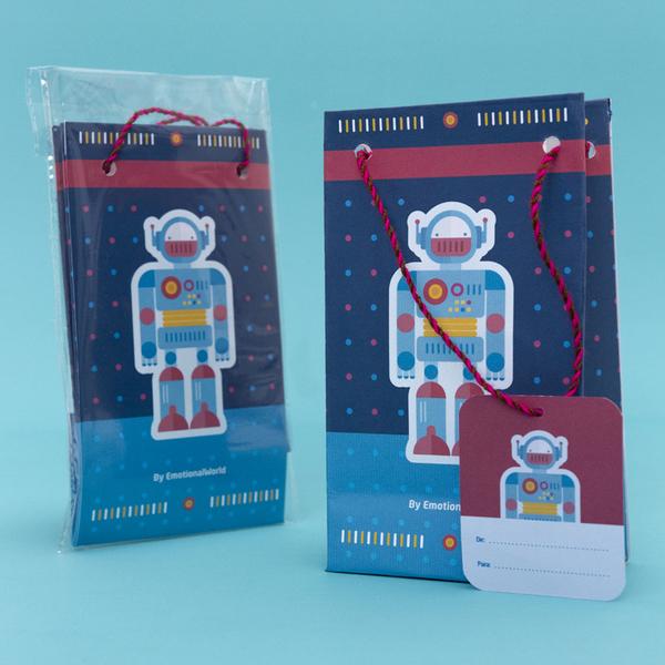 Set de 3 Bolsas de Regalo Robot Azul