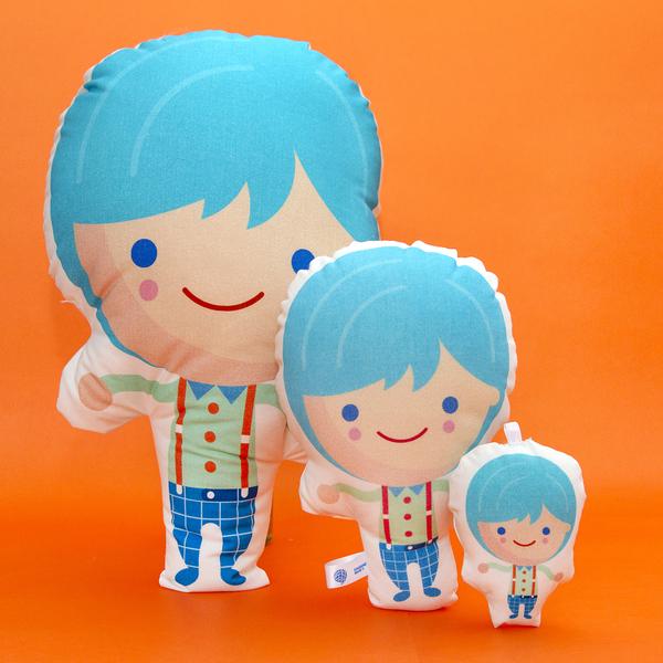 Cojín Niño pelo azul